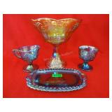 4 Piece Carnival Glass