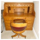 Solid Wood Roll Top Desk w/ Key