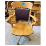 Solid Wood Office Chair w/ leather back