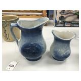 Set of 2 Blue and White Stoneware Pitchers