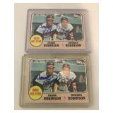 2 Signed 1968 Topps BIRD BELTERS (FRANK
