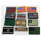 Lot of 12 Misc US Flag Tactical Patches