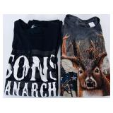 Lot of 2 Tshirts Sz XL Hunting & Sons of Anarchy