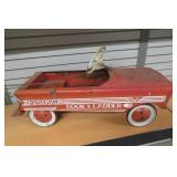 Vintage Fire Truck Peddle Ride On Car