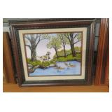 Signed Hargrove Art Ducks & Dogs By Pond