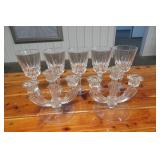 2 Glass Candle Holders & 5 Wine Glasses