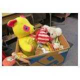 Huge Box of Vintage Plush Carnival Toys & More