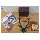 Cast Iron Hook, Vintage Maps Wood Recipe Box