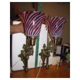 Vintage Fenton Brass Wall Sconces with