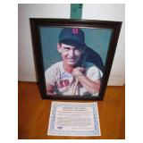 Ted Williams Autographed Framed 8 x 10 with C.O.A.