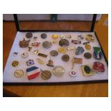 Display Box with Vtg Trinkets buttons, pins & more