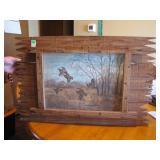 Barn Wood Framed Quail Painting by Glenna Jacobitz