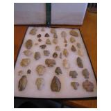 Display Case with Arrow Heads (Indian Rocks)
