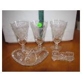 5 Vtg CutCrystal Pieces 2 Dishes & 3 Glasses6&1/2""
