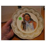 Vintage Indian Chief Wall Hanging Plate 8&1/8""