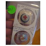 2 Antique Red Cross Pinbacks 1=1919, the other is