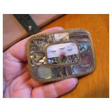 Vintage Brass Belt Buckle with Inlaid Abalone