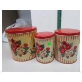 """Vtg 3 Pc Kitchen Metal Canister Set  6"""", 6&3/8""""and"""