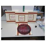 4 Vtg Avon Cape Cod Ruby Red Dinner Plates with