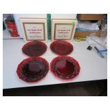 4 Vtg Avon Cape Cod Ruby Red Dessert Plates with