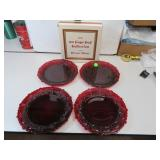 4 Vtg Avon Cape Cod Ruby Red Dessert Plates (2with