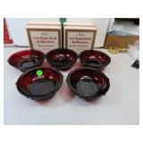 5 Vtg Avon Cape Cod Ruby Red Dessert Bowls (2 with