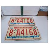 Pair Vtg 1976 Nebraska Bicentennial License Plate
