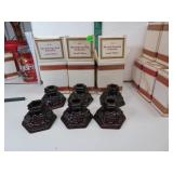 6 Vtg Avon Cape Cod Candlestick Holders with Boxes