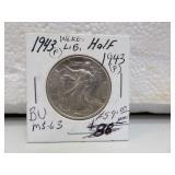 1943 Walking Liberty Half Dollar MS63 BU 90%Silver