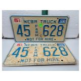 1996 Nebr Truck License Plate Set 45Farm628