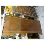 Antique Wood Foot Board with Wood Castors