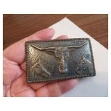 Western Belt Buckle signed Western Ranchman