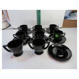 Vintage Black Depression Glass 6 Demitasse Cups &