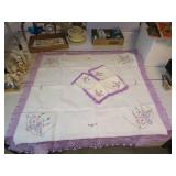 Vintage Fancy Work Card Table Cloth & 4 Napkins