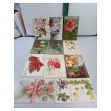 11 Antique Post Cards with Flowers early 1900
