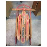 Vintage Mid-Century Happi Time Snow Sled 37&1/2""