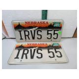 1999 Nebraska IRVS 55 License Plate Set