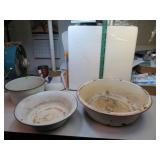 3 Pc Vintage Enamelware Pot & Pans (some chips)