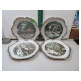 4 Vintage Currier & Ives Decor Plates 7""
