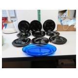11 Black Glass Saucers & Cobalt Blue Oval Dish