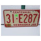 Centennial 31-E287 Nebraska 66 License Plate