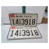 Nebr Truck License Plate Set 14 Comm 3918 with2005