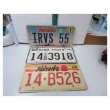 3 Single Nebraska License Plates (1 is Irvs 55)