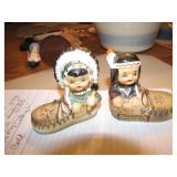 Vtg Native American Indian Boy & Girl S&P (Japan)