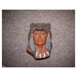 1995 Ceramic Indian with Bear Head Cap by Sue C
