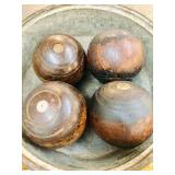 Victorian Antique 4 Pcs Wooden Lawn Balls