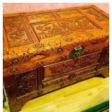 Vintage Carved Ornate Oriental Motif Teak Trunk