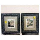 Antique French Castle Chateaux framed pictures