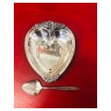 heart Shaped Silver plate tidbit and spoon