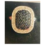 Pave Black Diamonds & White Diamond Sterling Ring